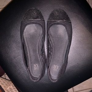 New York & Company black sparkle toe ballet flats